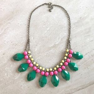 Green And Pink Statement Necklace